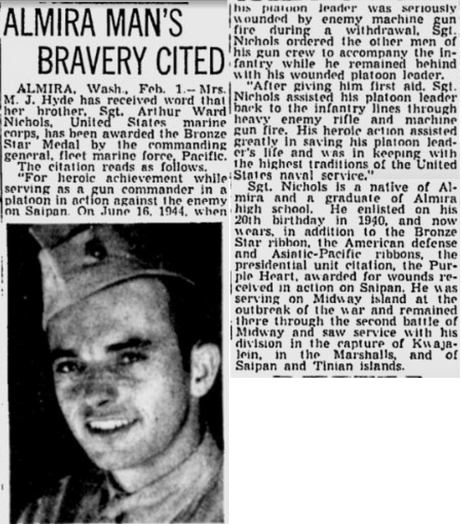 Nichols' courage under fire went a long way towards earning his commission the following year. Article from the Spokesman-Review (Spokane, WA) 2 February 1945.