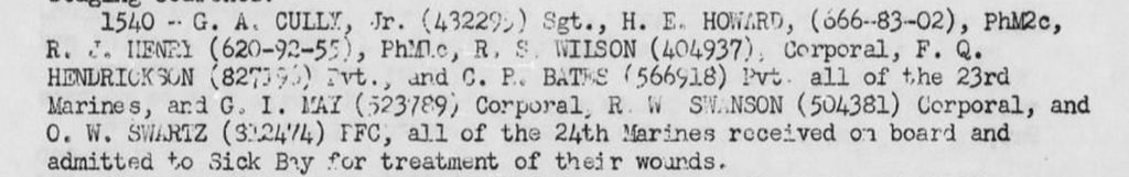 Deck log, USS Hamlin, 4 March 1945. Corporal May was evacuated along with Robert Swanson and Otto Schwarz.
