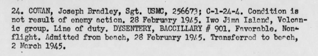 Disease could strike at any time. Cowan's ailment spared him only two days of combat. Casualty report of USS Knox, February 1945.
