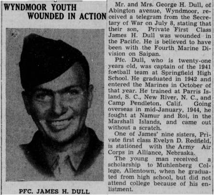 Fortunately, Bud's wounds were not serious, and he quickly returned to duty. Article from the Ambler Gazette (Ambler, PA) 27 July 1944.
