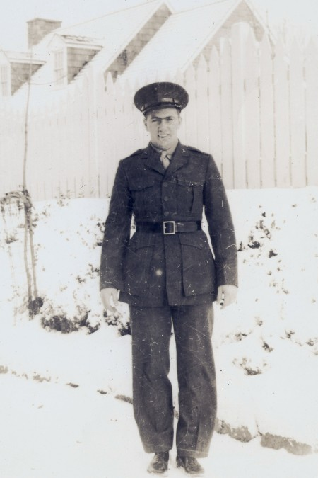 """Private Dull in his dress greens, probably on """"boot leave"""" in the winter of 1942-1943. Photo from Ancestry.com."""