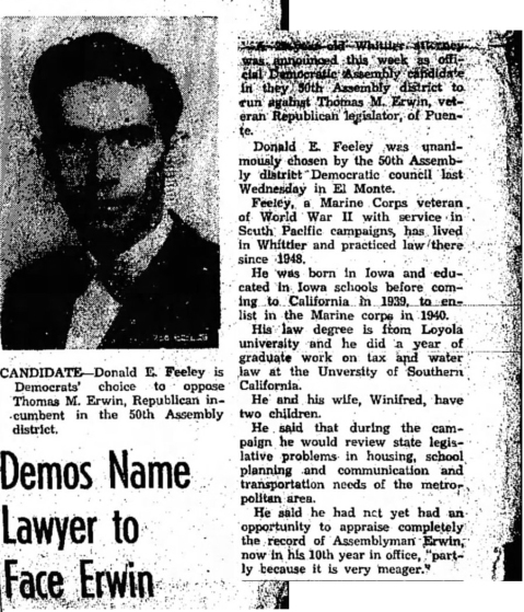 He also had a brief career in California politics. Covina Argus, 14 March 1952.