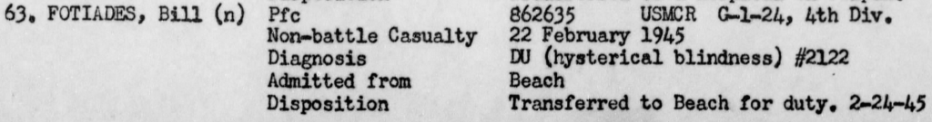 Fotiades suffered an unusual, but not unheard of, affliction on Iwo Jima. He was returned to action only to be badly wounded a few days later. Report of Operations, USS Hendry, February 1945.