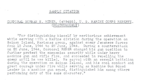 An initial draft of the citation for Reber's Bronze Star medal.