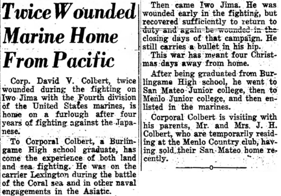 The Times (San Mateo, CA) 21 July 1945.