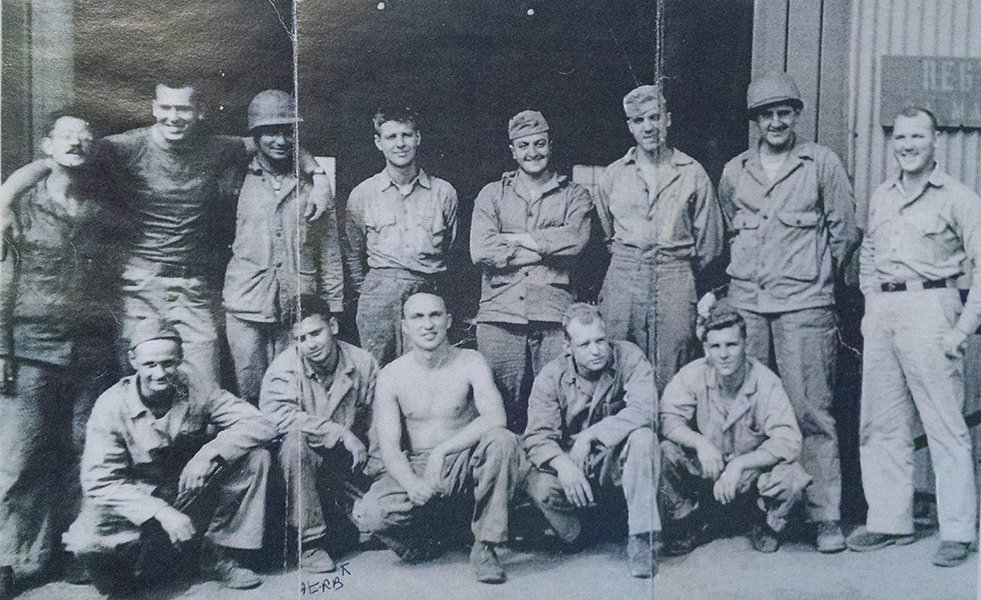 Herb Darmstadter with a group of buddies from the 24th Marines. Date unknown. Courtesy of Herb and Pearl Darmstadter.