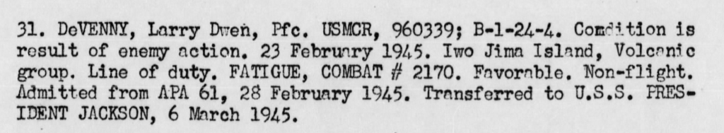 War Diary, USS Knox, February 1945.