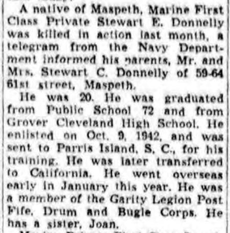 Long Island Star-Journal, 28 February 1944.