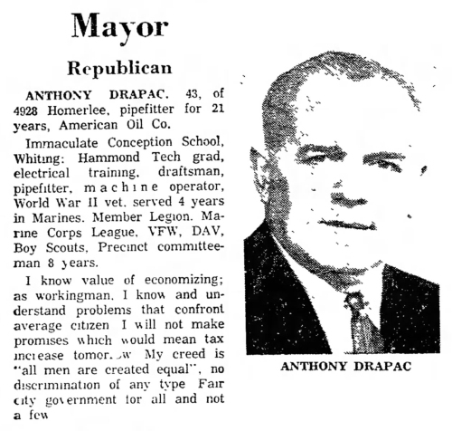 Tony Drapac ran for mayor of East Chicago in 1963.