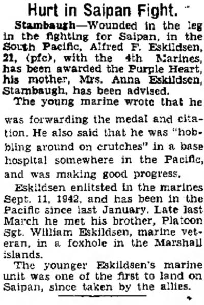 The Ironwood Daily Globe, 21 July 1944.