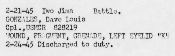 Gonzales' Marine Corps career came within a fraction of ending prematurely on Iwo Jima. War diary, USS Hinsdale, February 1945.