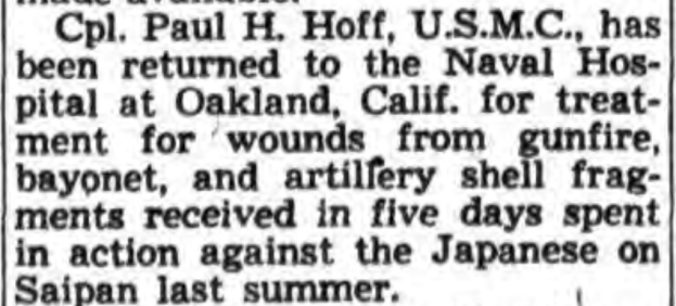 The extent of Hoff's wounds meant multiple hospital stays. Rome Daily Sentinel, 24 January 1945.