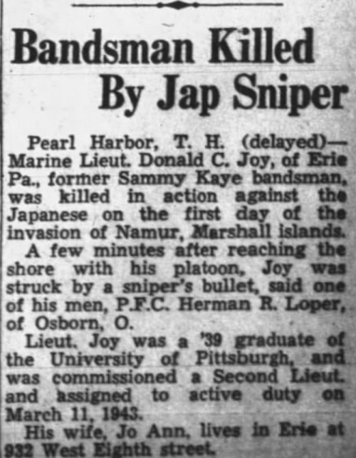 Wilkes-Barre Evening News, 25 March 1944.