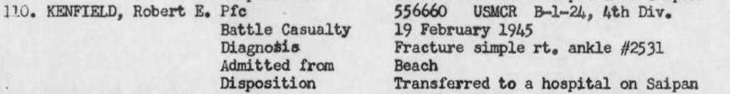 Although painful, a fractured ankle was Kenfield's honorable early ticket off Iwo Jima. Report of operations, USS Hendry.