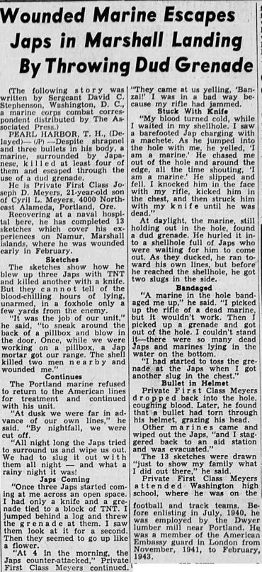 Herald And News, Klamath Falls, OR. 19 April 1944.