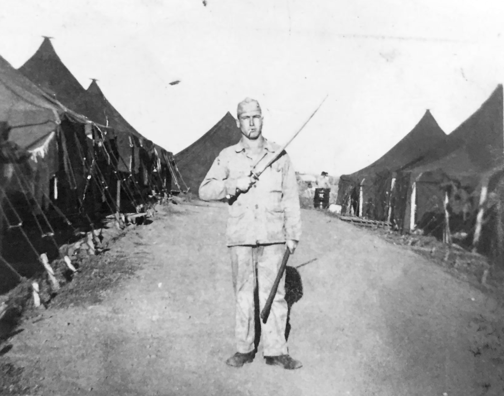 PFC Lee with a Japanese sword, probably a souvenir of Iwo Jima. Photograph courtesy of Darrell Jordan.