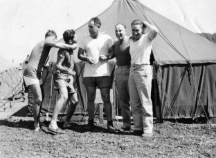 """10. Whitey, Lewis, Me, Winker, Reese. 4 July 1945"""