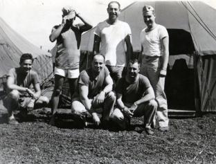 """Lewis, Whitey, me, Reese, Winker, Lemay. 4 July 1945"""