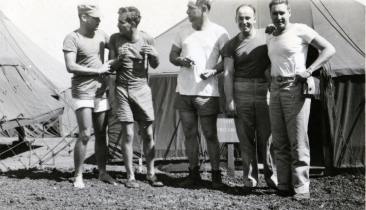 """22. L to R Whitey, Lewis, Me, Winker, Reece. 4 July 1945"""