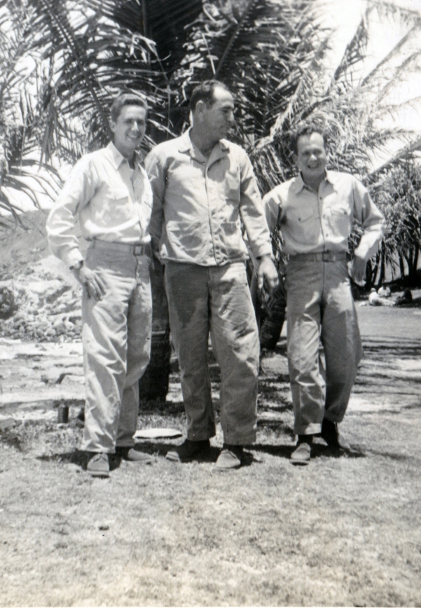 """Lt. Lewis, myself, Lt. Whitescarver. Company Party May 10 1945"""