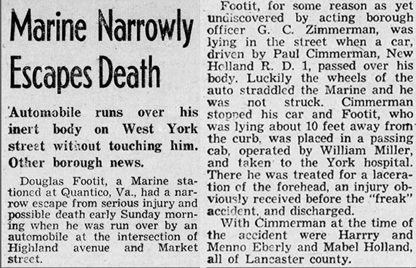 Doug Footit almost didn't make it overseas. Article from The Gazette and Daily (York, PA) 23 August 1943.