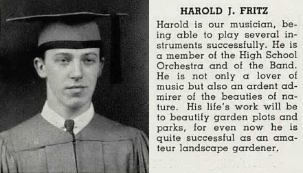 St. Mary's Catholic High School, 1943. Despite the yearbook's prediction, Hal Fritz would be known more for his musical talents than his landscaping.
