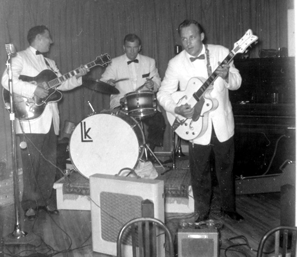 """Sonny"" Gillett (lead guitar) performs at a Canadian nightclub in 1959. Photo from Ancestry.com."
