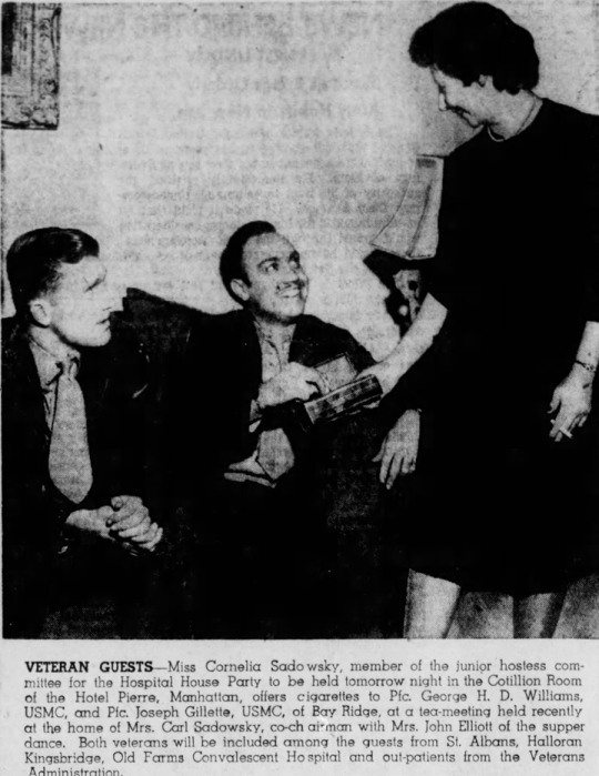 Joseph Gillette's Iwo wound left him paralyzed from the waist down and confined to a wheelchair. He later took part in a pilot program to provide special housing for paraplegic veterans. Photo from the Brooklyn Daily Eagle, 26 January 1947.