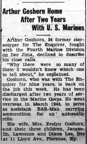 The Boone County Recorder, 15 November 1945. Goshorn worked for the competing Cincinnati Enquirer.