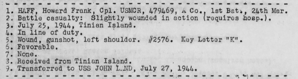 War Diary, USS Heywood, July 1944.