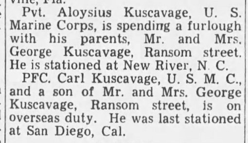 The Kuscavage brothers in Marine service. Carl served with the Second Armored Amphibian Battalion. Wilkes-Barre Times Leader, 26 January 1943.