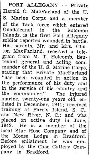 Times Herald (Olean, NY) 30 October 1942.