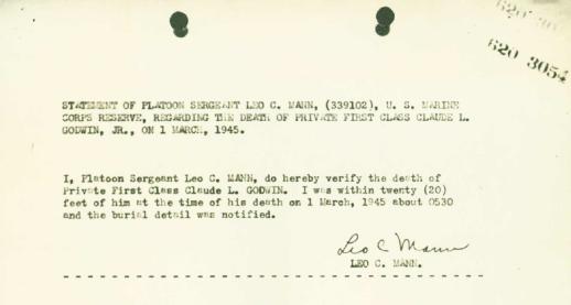 Statement of Platoon Sergeant Mann concerning the death of PFC Godwin.
