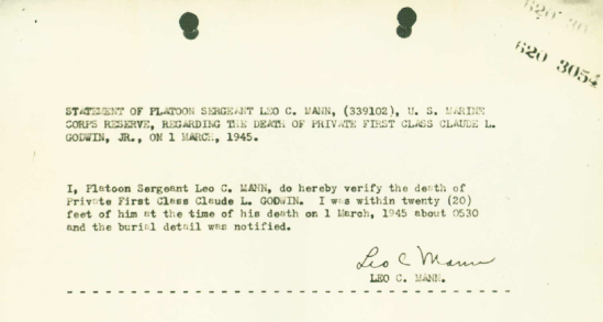 In 1945, Leo Mann was called upon to confirm the date of death of one of his charges, PFC Claude L. Godwin, Jr.