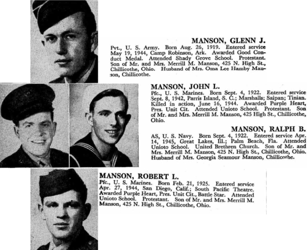 The four Manson brothers in United States service. Photos from Young American Patriots.
