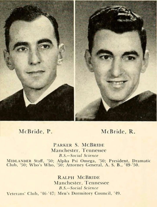 On the GI Bill: brothers Parker and Ralph McBride in the 1950 graduating class of Middle Tennessee State University.