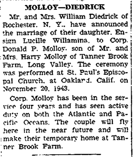 The Molloys eventually made their home in Scotia, NY. Hackettstown (NJ) Gazette, 9 December 1943.