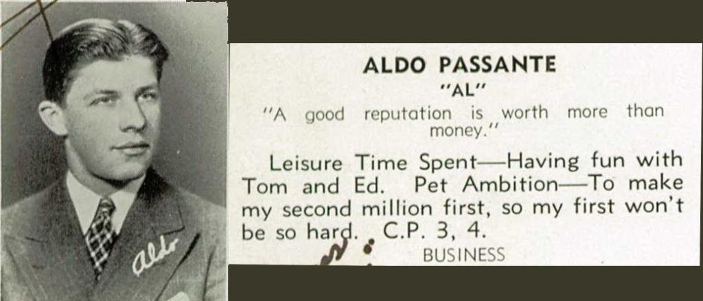 Al Passante at East Orange High School, 1939.