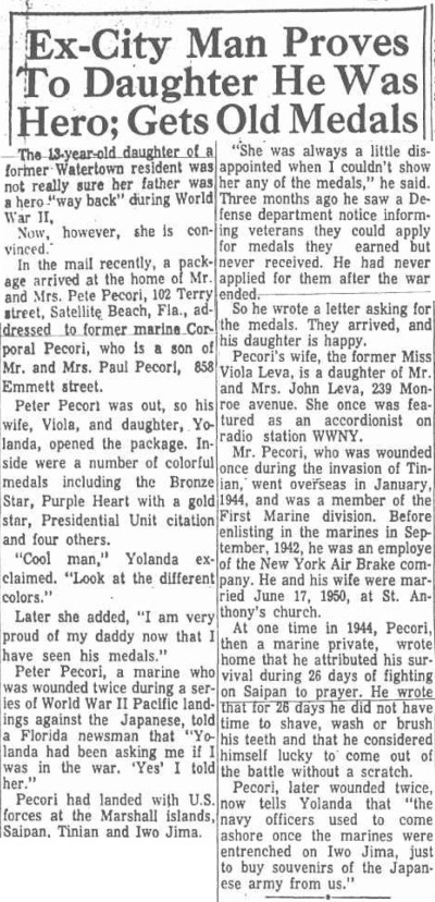 Watertown Daily News, October 1966.