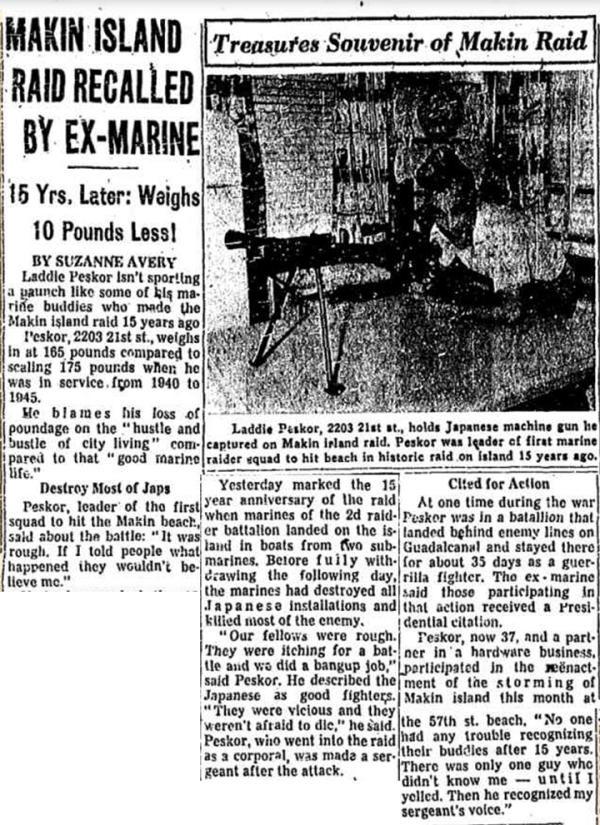 """Laddie"" Peskor recalls his exploits with Carlson's Raiders. Chicago Tribune, 18 August 1957."