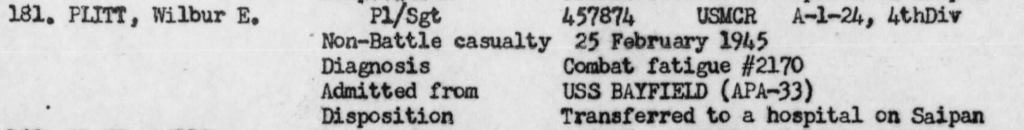 When one of his mortar squads was wiped out in a single night on Iwo Jima, the veteran platoon sergeant could take no more. War diary, USS Hendry.