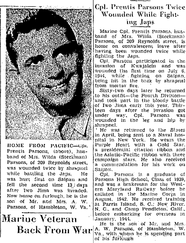 One year to the day after his nearly fatal Saipan wound, Corporal Parsons was back home. Story from the Cumberland Evening Times, 22 June 1945.