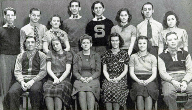 "Cast of the South High senior class play, ""Beginner's Luck."" Previs played Boris Borislawski, ""a Russian theatrical producer."" South High yearbook, 1939."