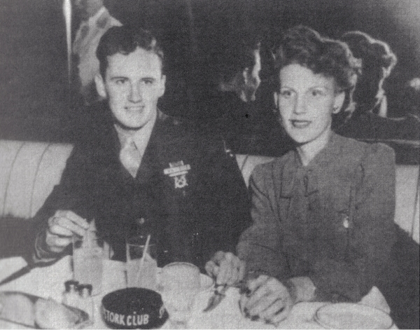 "Bill Quinn with his wife, June, at the Stork Club in Los Angeles. Photo appeared in ""Gyrene"" by Wilbur Jones."
