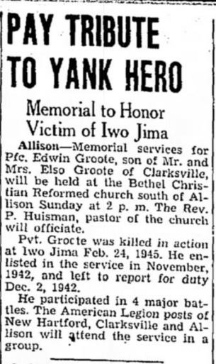The Mason City (IA) Globe-Gazette, 2 June 1945.