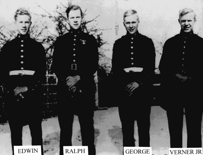 The four Lilja brothers in 1943. Only two would come home: 1Sgt Ralph Lilja (C/1/24) was killed on Saipan, and PFC George Lilja (E/2/7) died on Peleliu.