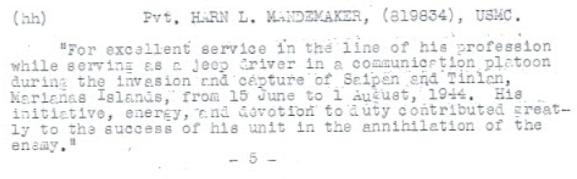 Mandemaker was commended for his service in the Marianas.
