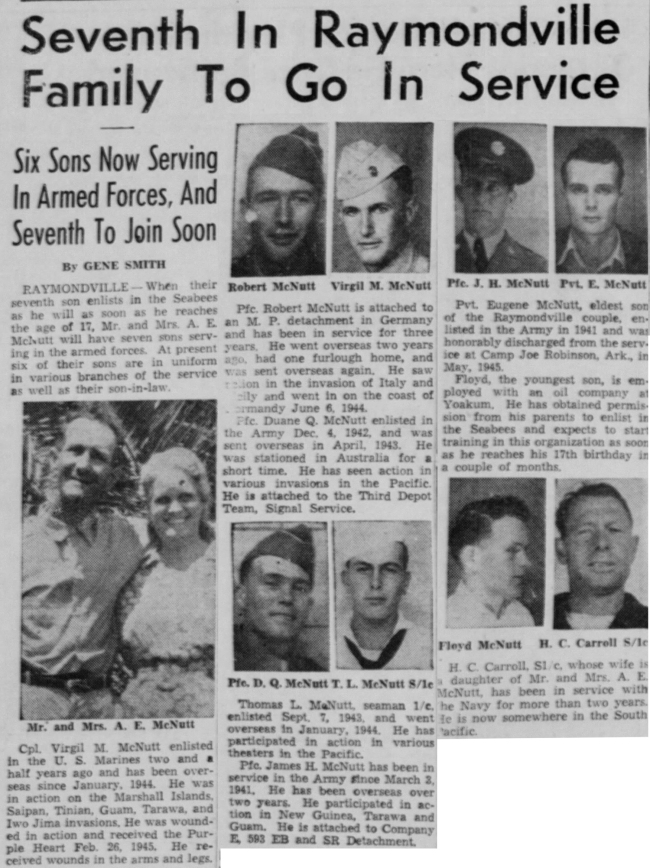 The war was very much a family affair for the McNutt clan. Valley Morning Star (Harlingen, TX) 5 August 1945.