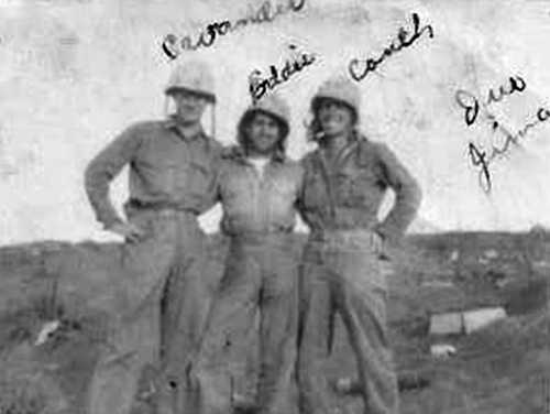West Virginia buddies Cavender and George Couch pose with their squad leader, Cpl. Eddie Lykins.
