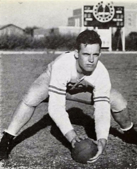 """""""Red"""" Cloud played center for the 1943 Southwestern Louisiana State Institute football team."""